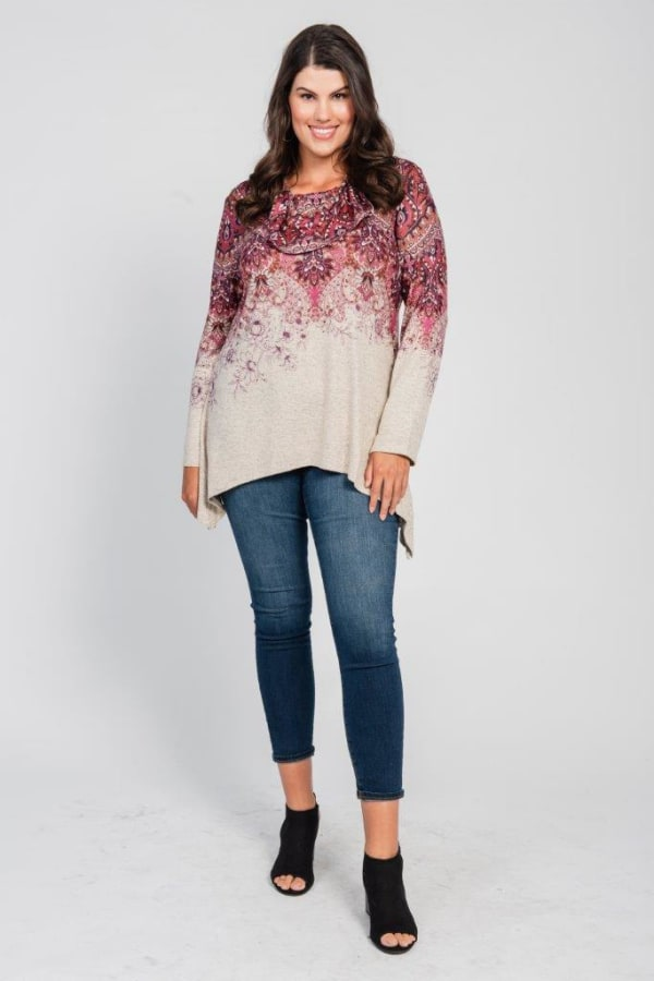 Border Print Cowl Neck Sharkbite Knit Top - Plus