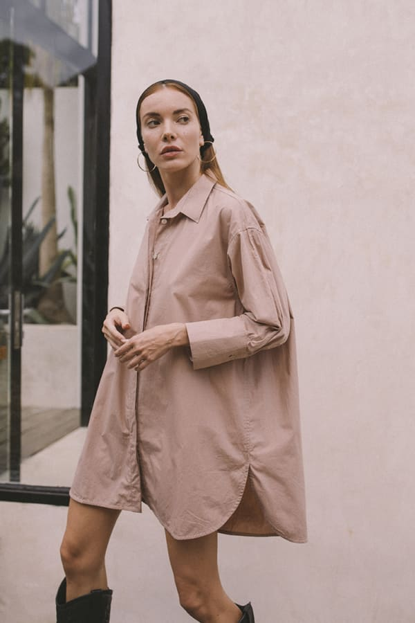 Effortless Oversized Shirt - Light Blush - Front
