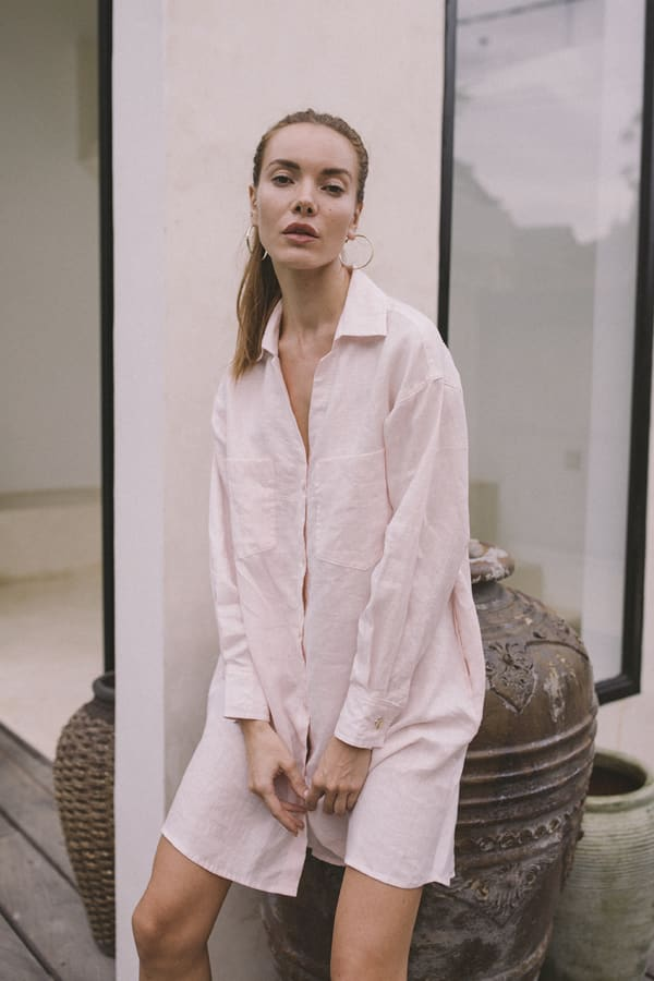 Linen Shirt - Light Blush - Front