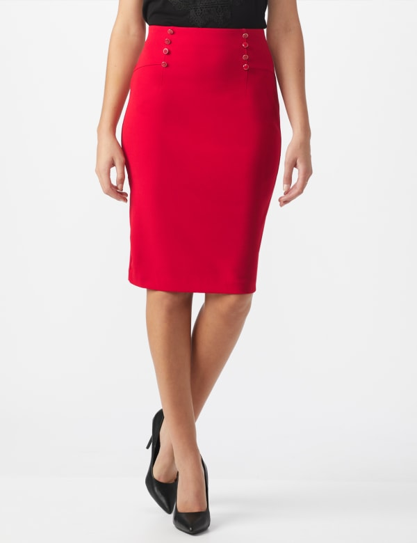 Pencil Skirt with Enamel Button Trim -True Crimson - Front