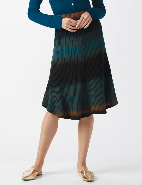 Dip Dye Rib Knit Pull On Skirt -Blue/Brown - Front