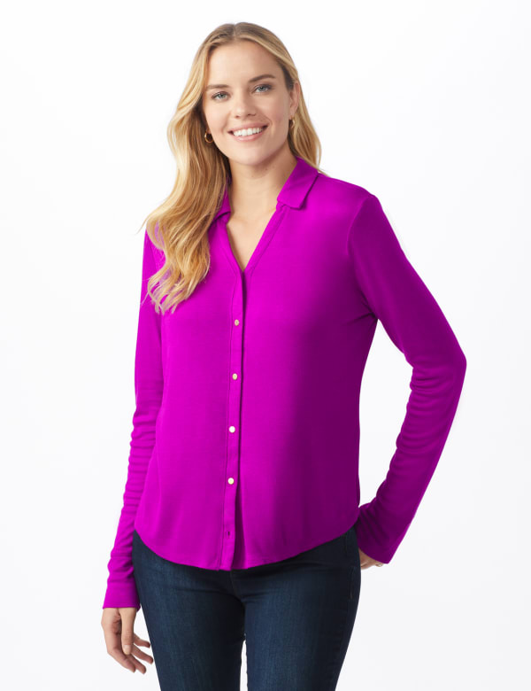 Rayon Span Pique Shirt - Tropical Orchid - Front