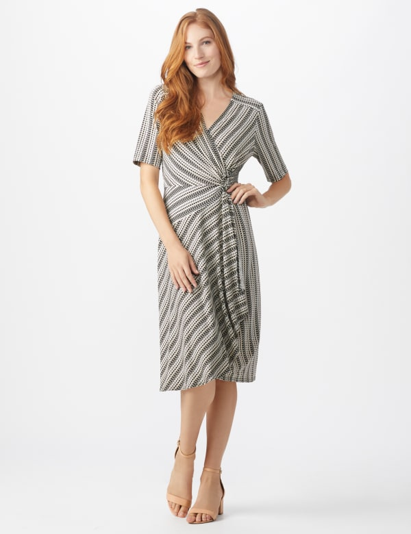 Wrap Striped Dress - Misses - Taupe - Front