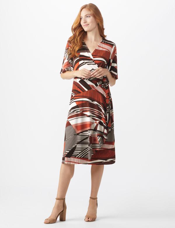 Modern  Wrap Dress - Rust - Front