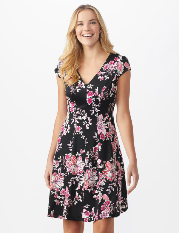 Floral Fit and Flare Dress - Black/pink multi - Front