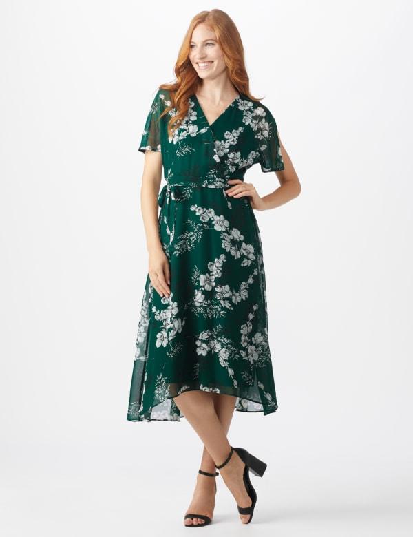 Floral Wrap Midi Dress - Misses - Hunter multi - Front