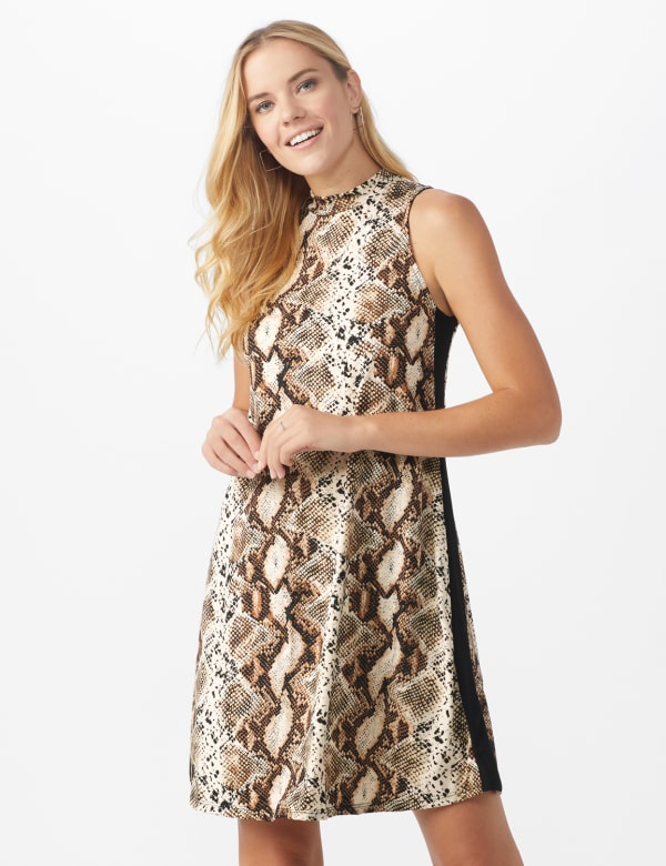 Animal A-Line Dress - Brown/Multi - Front