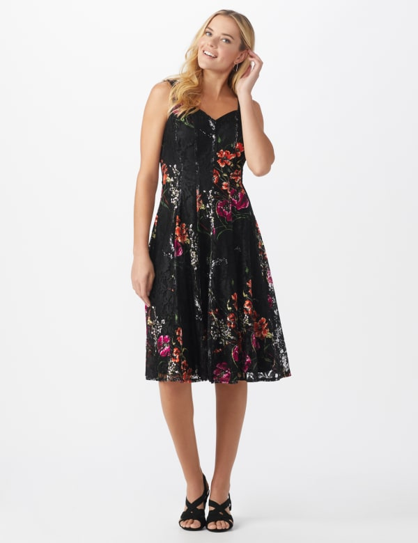 Floral Lace Fit and Flare Dress - Black/tangerine - Front