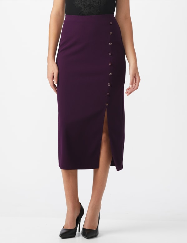 Side Slit Pull-On Pencil Skirt with Button Detail - Plum - Front