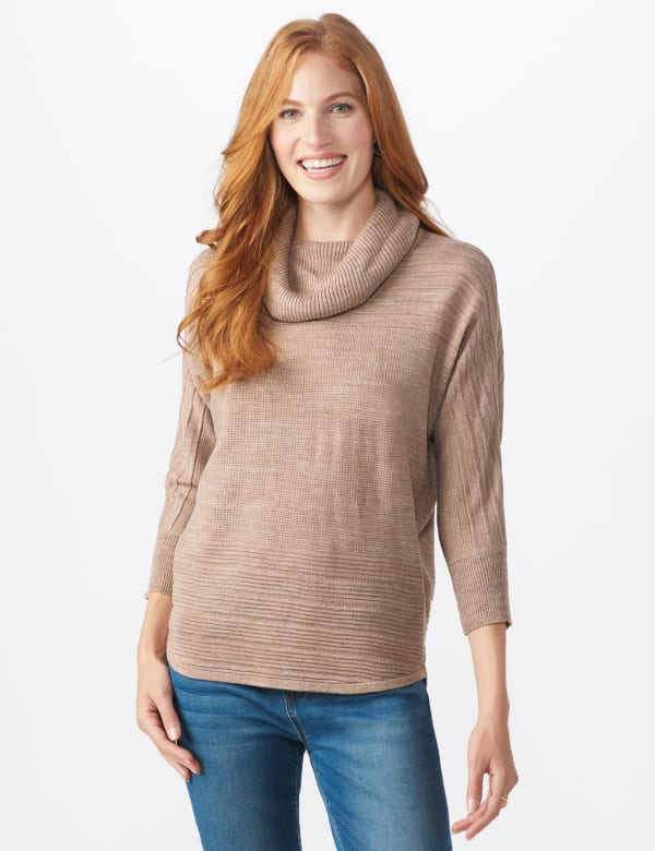 Westport Drape Neck Curved Hem Sweater - Biscotti - Front