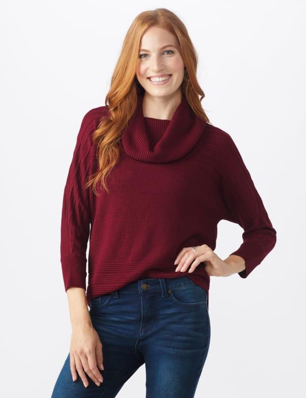 Westport Drape Neck Curved Hem Sweater - Misses - Bordeaux - Front