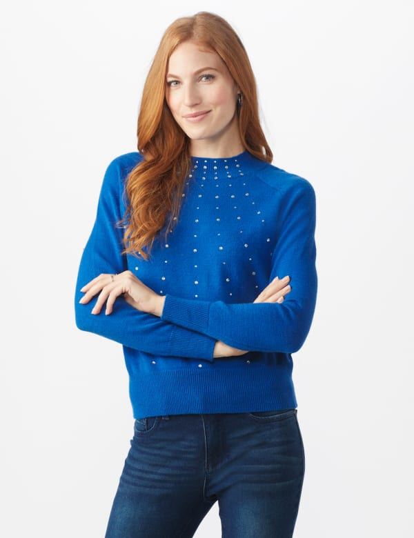 Roz & Ali Cascading Jewels Pullover Sweater - Lapis Blue - Front
