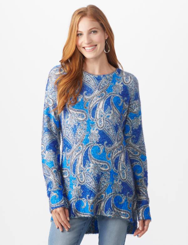 Roz & Ali Paisley Eyelash Tunic Sweater - Blue Multi - Front