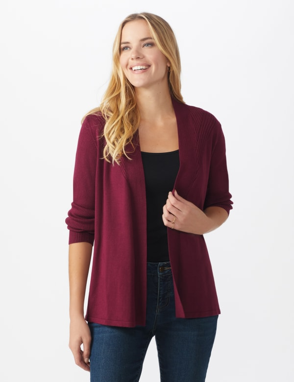 Roz & Ali Everyday Cardigan - Night Sangria - Front