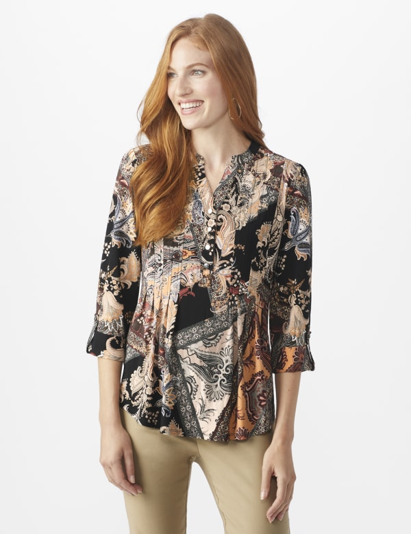 Roz & Ali Neutral Patchwork Pintuck Popover - Tan - Front
