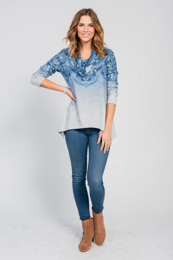 Border Print Cowl Neck Sharkbite Knit Top - Misses - Blue - Front
