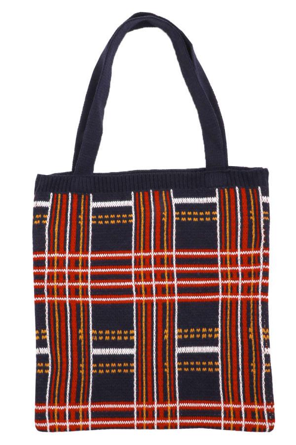 Plaid Knit Pattern Tote Bag