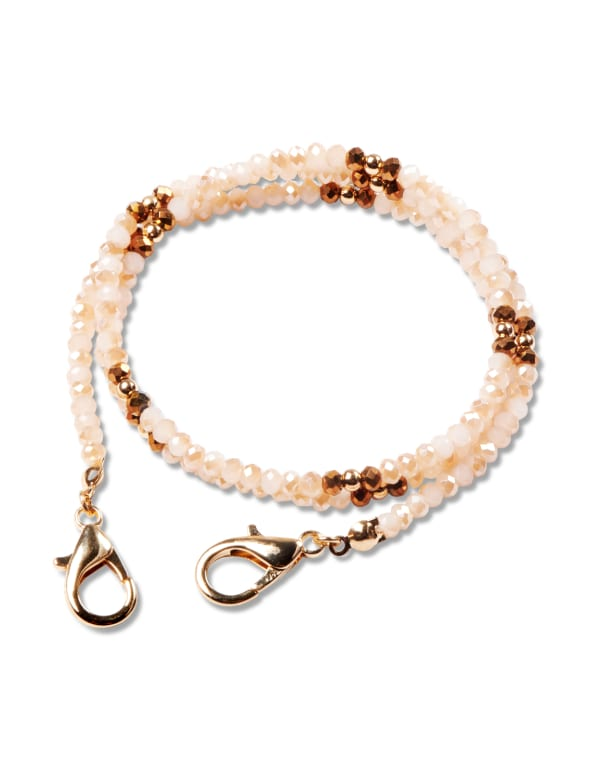 Light Peach & Bronze Beaded Face Mask Chain - Multi - Front