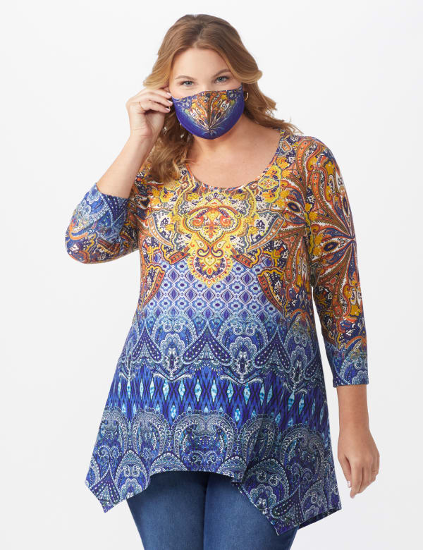 Anne Spice Sharkbite Knit Top & Matching Fashion Face Mask Set - Plus - Multi - Front
