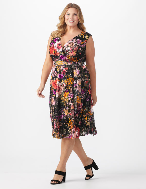 Wrap Rose Lace Dress - Plus -Black/coral - Front