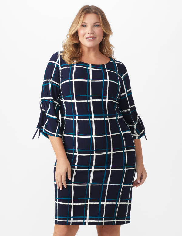 Grid Pattern Sheath Dress - Plus - Navy/Teal/Ivory - Front