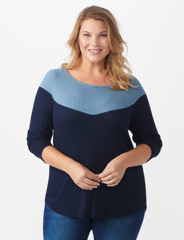 Denim Friendly Color Block Thermal Knit Top - Plus - Navy - Front