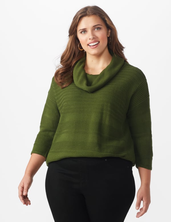 Westport Ottoman Stitch Curved Hem Sweater - Plus - Olive Vine - Front