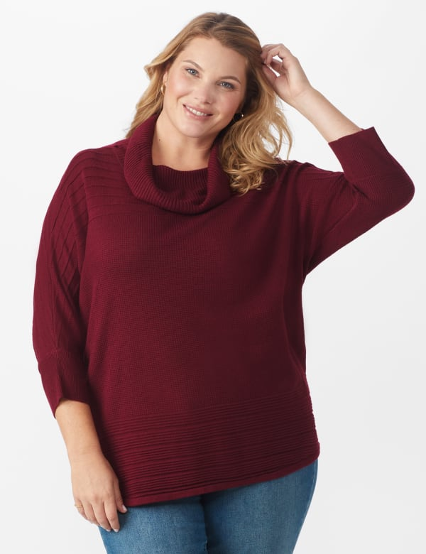 Westport Drape Neck Curved Hem Sweater - Plus - Bordeaux - Front
