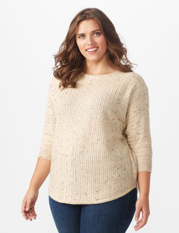 Westport Novelty Yarn Curved Hem Sweater - Plus -Bambi - Front