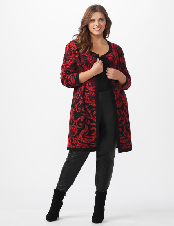 Roz & Ali Jacquard Duster Sweater - Plus