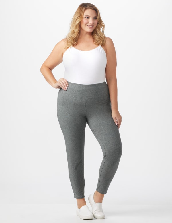 Tummy Control Legging - Plus -Heather Grey - Front
