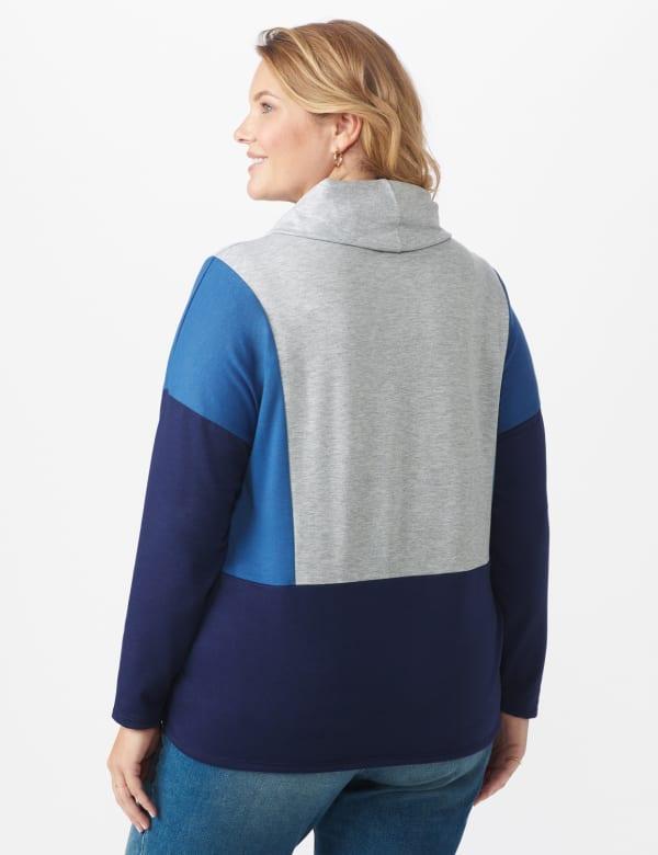 Color Block Cowl Neck Knit Top - Plus