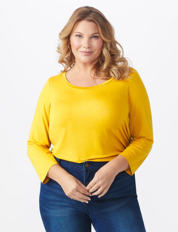 Rayon Spandex Scoop Neck Tee - Plus - Amber - Front