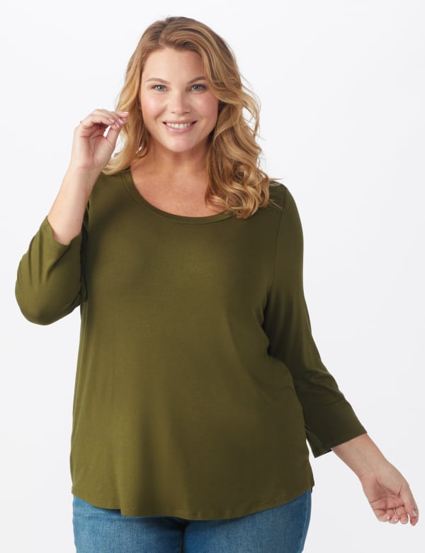 Rayon Spandex Scoop Neck Tee - Plus - Olive - Front
