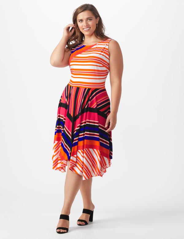 Sleeveless Striped Colorful Dress - Plus
