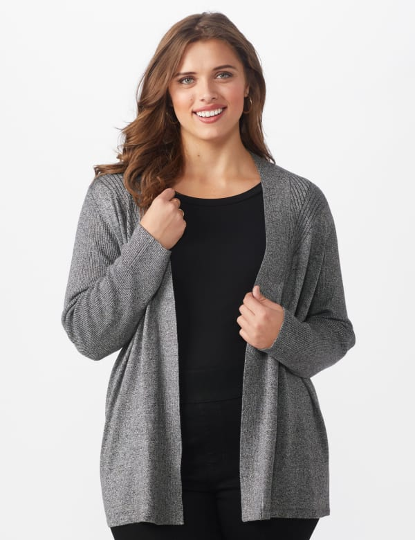 Roz & Ali Everyday Cardigan - Plus -Black/White Marled - Front