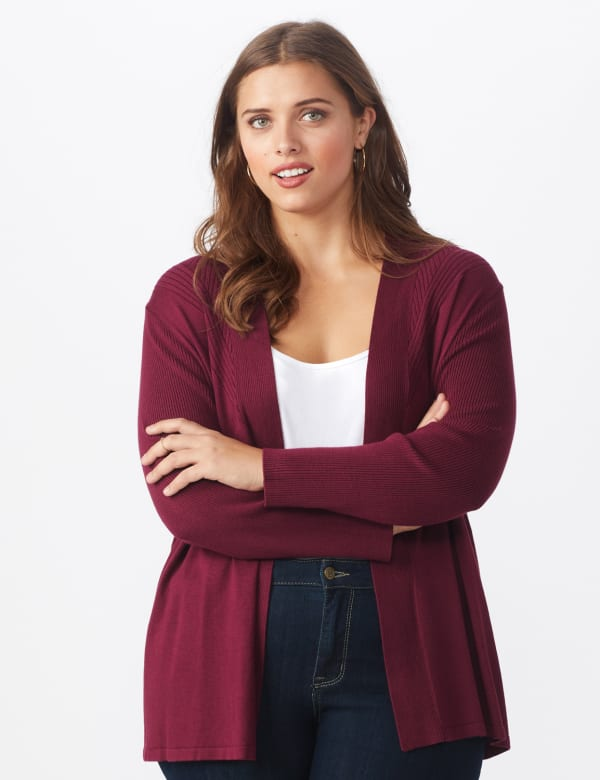 Roz & Ali Everyday Cardigan - Plus - Night Sangria - Front