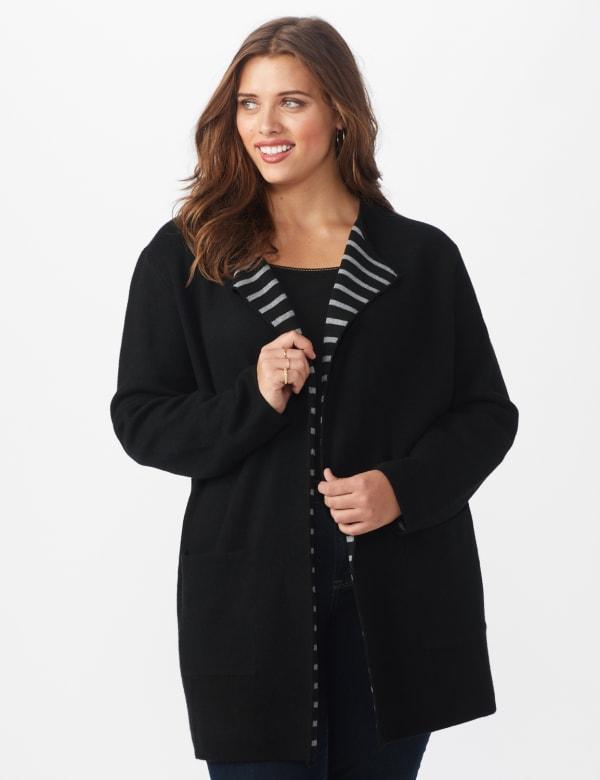 Roz & Ali Inner Beauty Coatigan Sweater  - Plus - Black/Heather Grey - Front