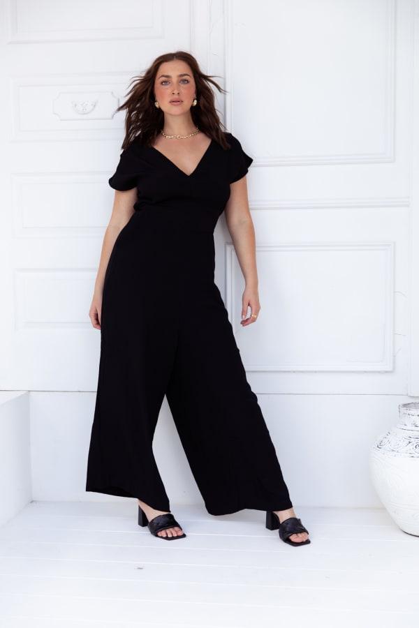Jasmine Jumpsuit - Plus - Black - Front
