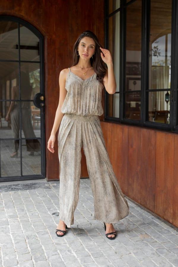 Ayla Jumpsuit - Plus - Viper Beige - Front