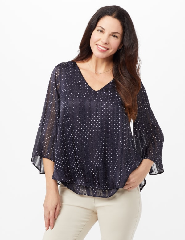 Roz & Ali Pin Dot Fly Away Back Blouse - Navy/whit - Front