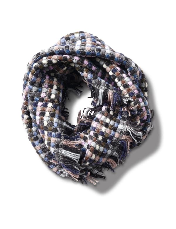 Basketweave Infinity Scarf - Blue Combo - Front