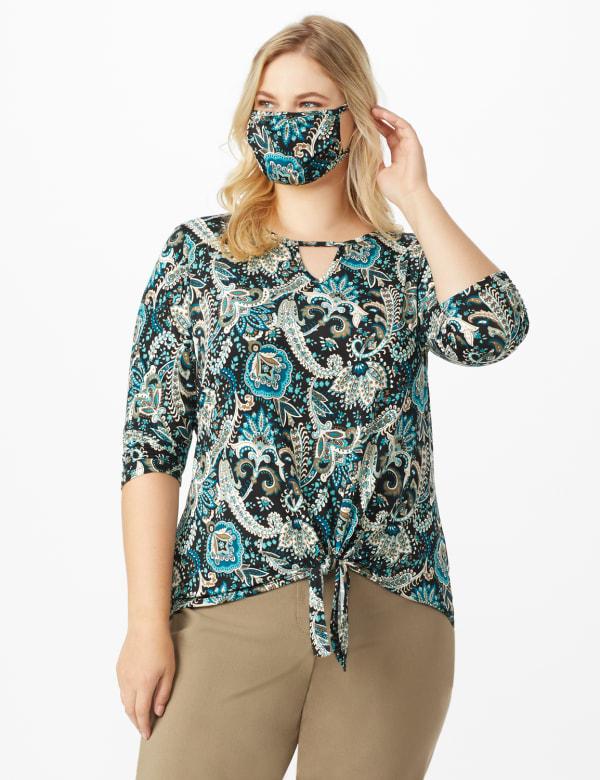 Westport Bohemian Print Knit Top - Plus - Teal/Black - Front