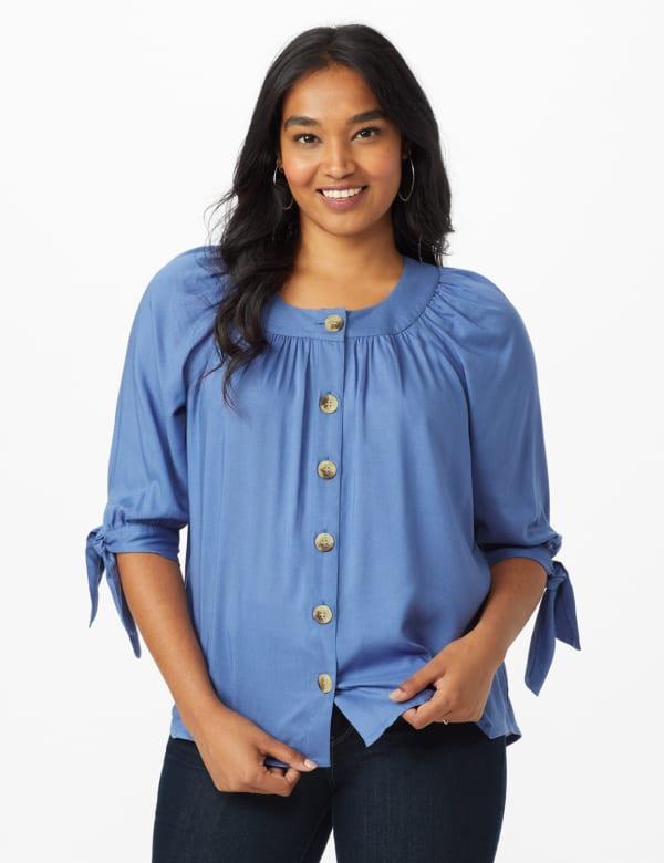 Westport Tie Sleeve Button Front Blouse - Bijoux Blue - Front