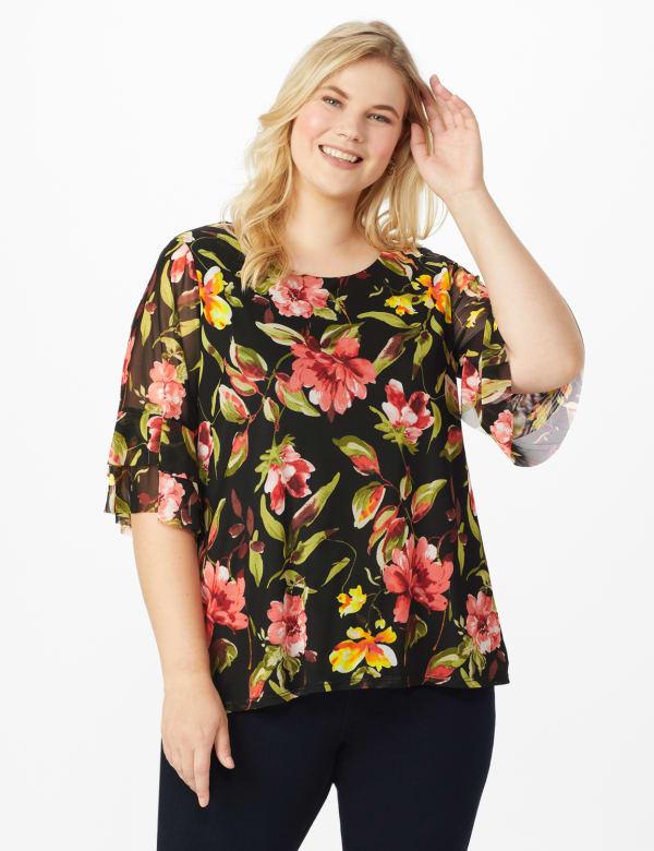 Westport Floral Mesh Ruffle Sleeve Top - Plus - Black Multi - Front