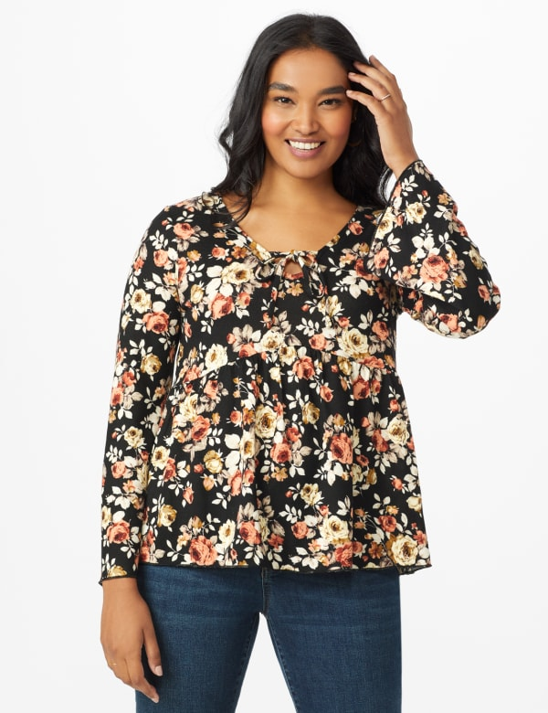 Floral Flare Sleeve Hacci Sweater Knit Top  - Misses - Black/Taupe - Front