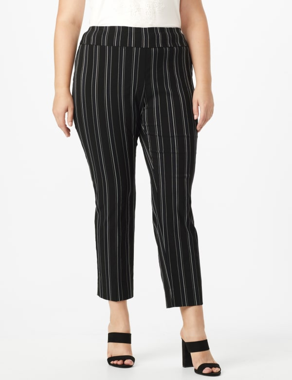 Plus Pull on Stripe millenium ankle pant - Plus - Black/Navy - Front