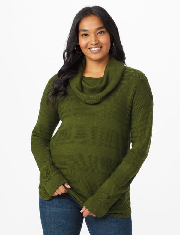 Westport Ottoman Stitch Curved Hem Sweater - Olive Vine - Front