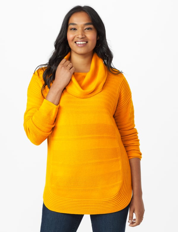 Westport Ottoman Stitch Curved Hem Sweater - Burnt Squash - Front