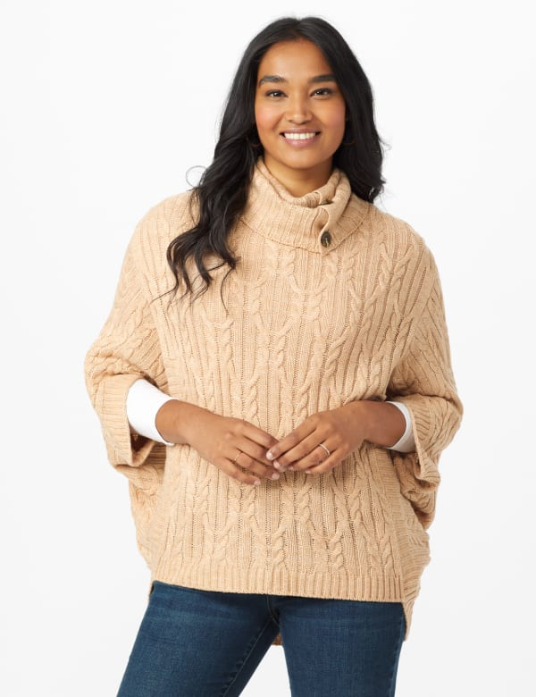 Westport Cable Poncho Sweater -Hazel - Front